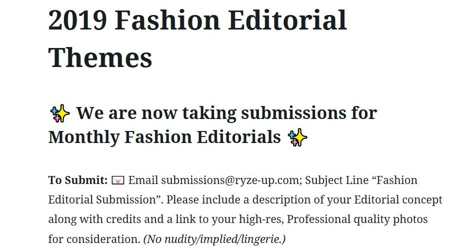 2019 Fashion Editorial Themes